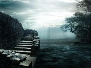 Postal: Escaleras de piedra junto al mar