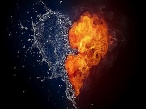 Postal: Corazón de agua y fuego