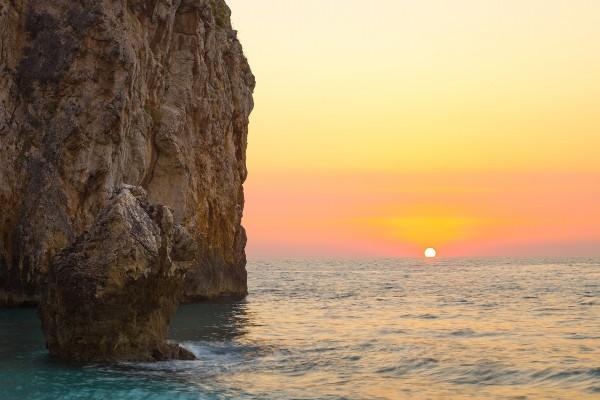 Puesta de sol en la isla de Léucade (Grecia)