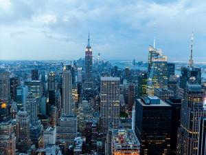 """Postal: Vista de la ciudad de Nueva York desde el """"Top of the Rock"""""""