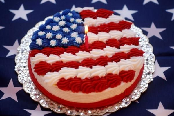 Tarta con la bandera de Estados Unidos