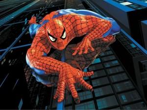 Hombre Araña escalando un rascacielos