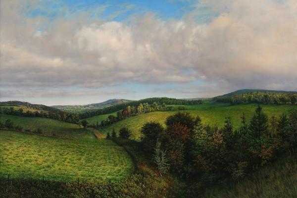 Pintura de una campiña verde