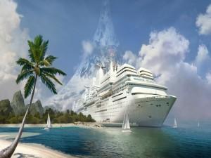 Un barco crucero en la playa