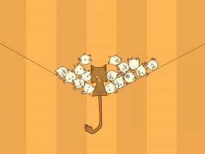 Postal: Gato rodeado de pajaritos