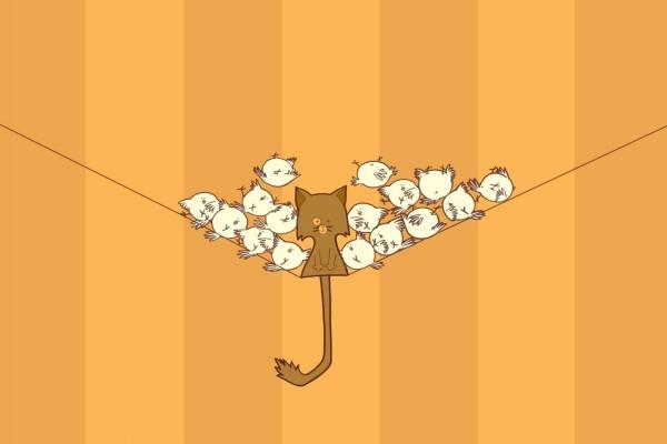 Gato rodeado de pajaritos