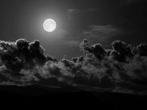 Postal: Luna llena en una noche oscura