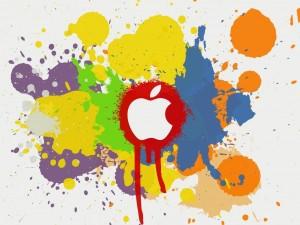 Logo de Apple entre salpicaduras de pintura