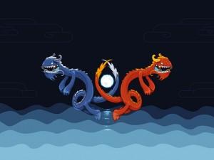 Dragones azul y rojo en el agua