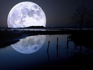 Postal: La luna reflejada en el agua