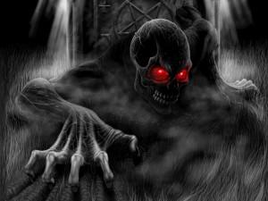 La muerte saliendo de una tumba