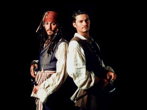 "Postal: Orlando Bloom y Johnny Depp en ""Piratas del Caribe"""