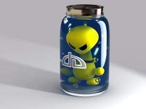 Postal: Alien en una botella