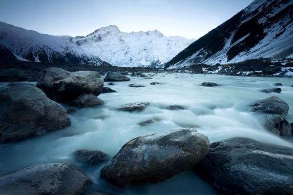 Un glaciar que se derrite en Nueva Zelanda