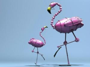 Postal: Flamencos robots