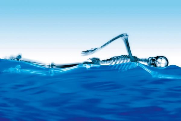 Esqueleto nadando