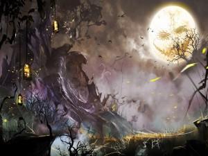 Noche de brujas con luna llena