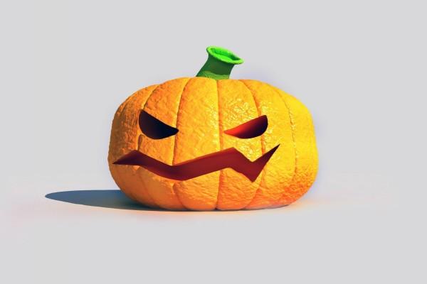 Una calabaza de Halloween, un poco enfadada