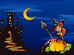 Bruja de Halloween sobre una calabaza