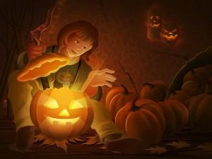 Postal: Preparando calabazas para Halloween