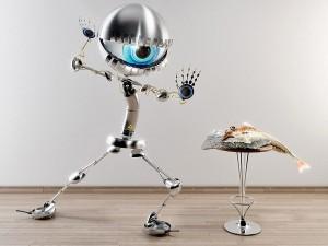 Postal: Robot preparando sushi