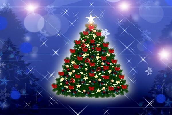 Árbol de Navidad sobre un fondo azul