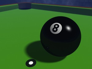 Postal: La bola negra (bola 8)