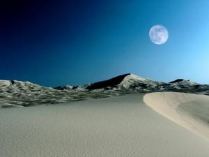 Postal: Luna llena sobre el desierto