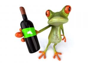 Postal: A esta rana la gusta el vino
