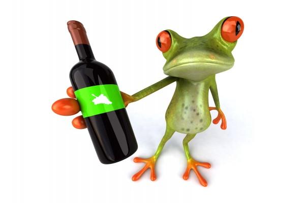 A esta rana la gusta el vino