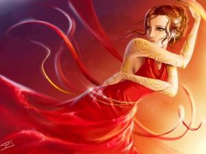 Postal: Chica con un vestido rojo con cintas