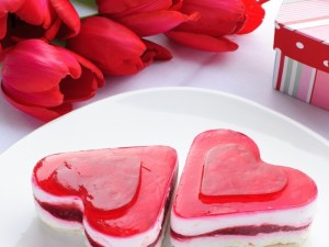 Postal: Dos tartitas con forma de corazón
