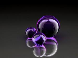 Postal: Esferas de cristal moradas