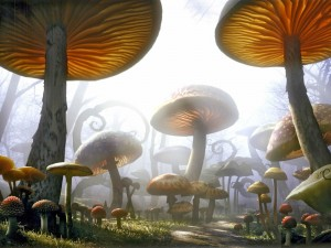"""Postal: Camino rodeado de setas gigantes en """"Alicia en el país de las maravillas"""" de Tim Burton"""