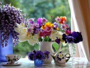 Postal: Flores multicolores frente a una ventana