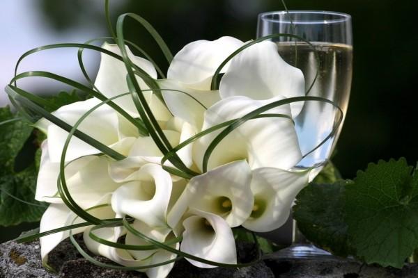 Un ramo de calas blancas y una copa de vino