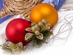 Postal: Dos bolas de Navidad