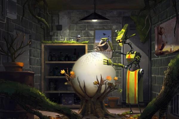 Mamá robot regando un huevo