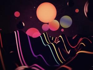 Postal: Líneas y esferas de luz y color