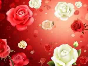 Estampado de rosas blancas y rojas
