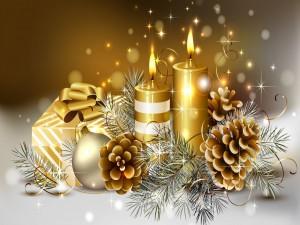 Postal: Elementos dorados navideños
