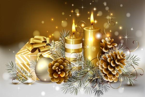Elementos dorados navideños