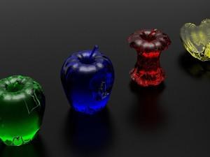 Postal: Manzanas de cristal de colores