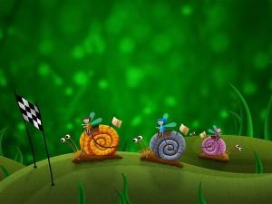 Carrera de pequeñas hadas montadas en caracoles
