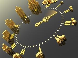 Postal: Reloj con monedas indicando las horas