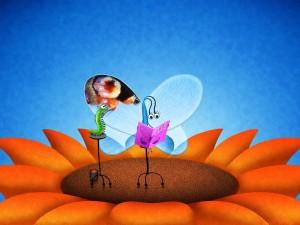 Postal: Gusano maquillando las alas de una mariposa