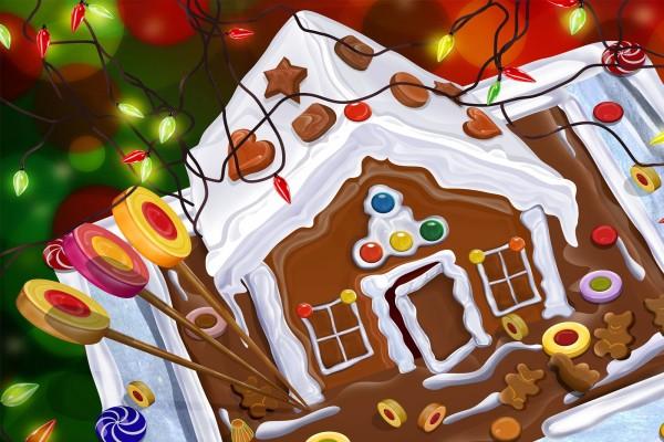 Una casita navideña de chocolate y galletas de jengibre