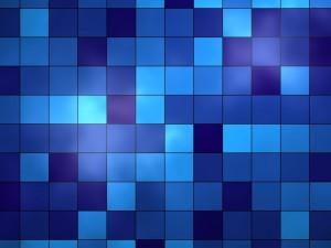 Postal: Cuadrículas de tonos azules