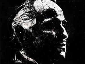 """Postal: Dibujo de Marlon Brando interpretando a Vito Corleone en """"El Padrino"""""""