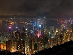 Postal: Hong Kong por la noche